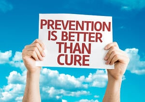 Prevention is Better than Cure card with sky background: HOW TO PROMOTE A HEALTHY RELOCATION
