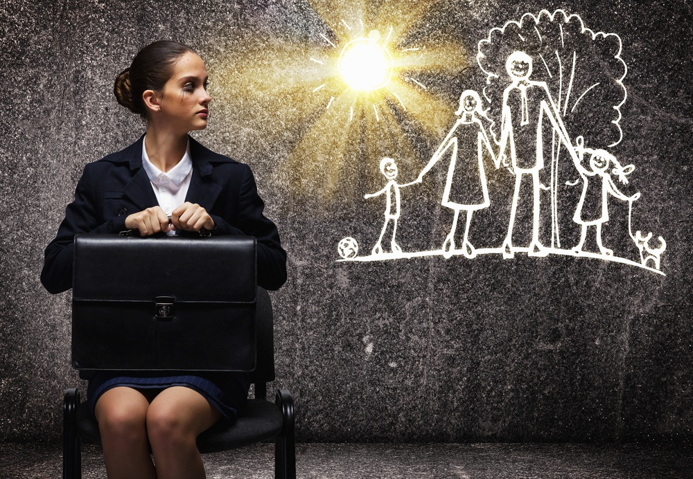 Young upset businesswoman sitting on chair with briefcase: Is work life balance  possible for global mobility HR