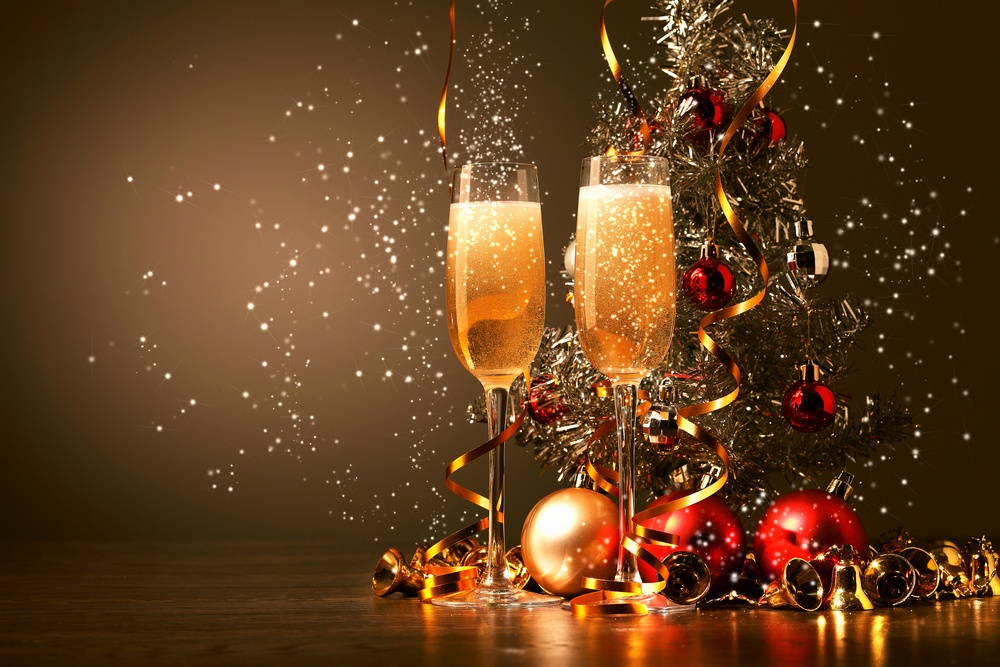 Two champagne glasses: Christmas dinner in Sweden